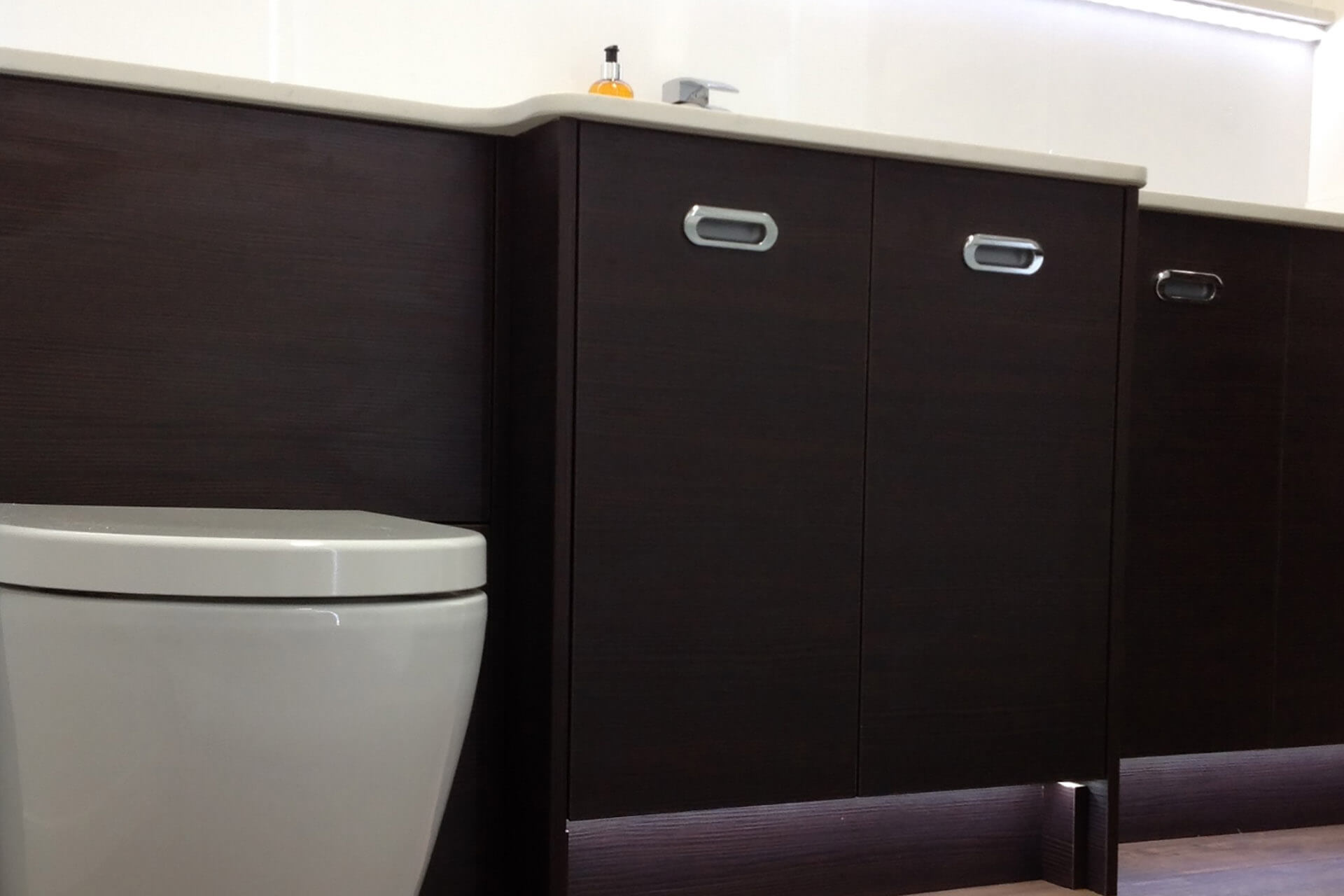 Dark doors and toilet unit